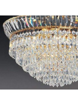 Chandelier in transparent crystal 4 lights gold Voltolina New Orleans