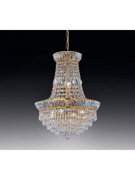 Chandelier in transparent crystal 6 lights gold Voltolina New Orleans