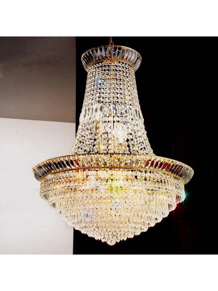 Chandelier in transparent crystal 9 lights gold Voltolina New Orleans
