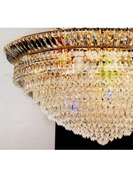 Chandelier in transparent crystal 9 lights gold Voltolina New Orleans