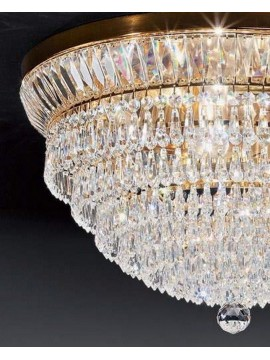Ceiling lamp in classic crystal 8 lights gold Voltolina New Orleans