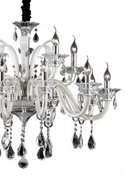 Lampadario in cristallo e vetro 15 luci Colossal avorio