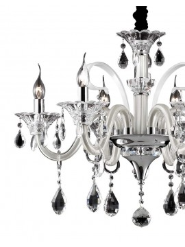 Crystal and glass chandelier 6 lights Colossal ivory