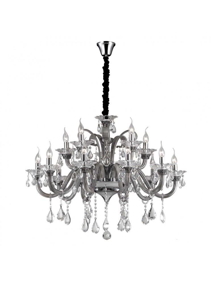 Crystal and glass chandelier 15 lights Colossal gray
