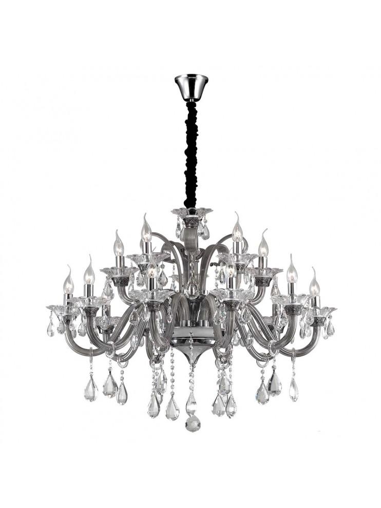 Lampadario in cristallo e vetro 15 luci Colossal grigio