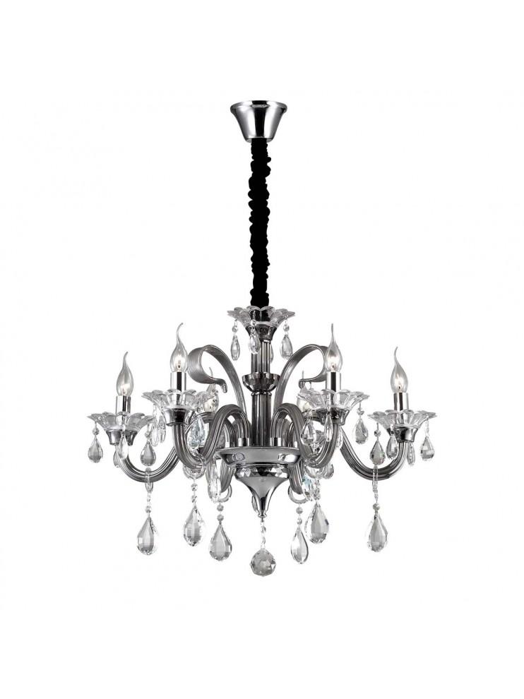 Lampadario in cristallo e vetro 6 luci Colossal grigio