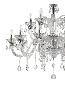 Crystal and glass chandelier 15 lights Colossal transparent