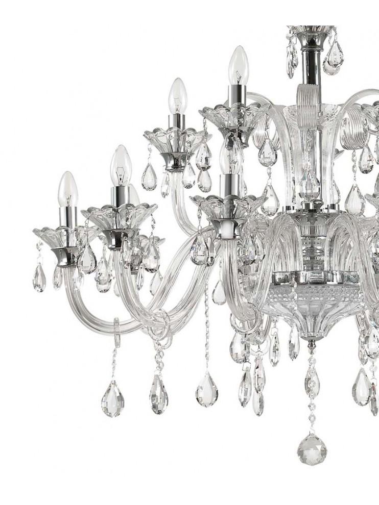 Lampadario in cristallo e vetro 15 luci Colossal trasparente