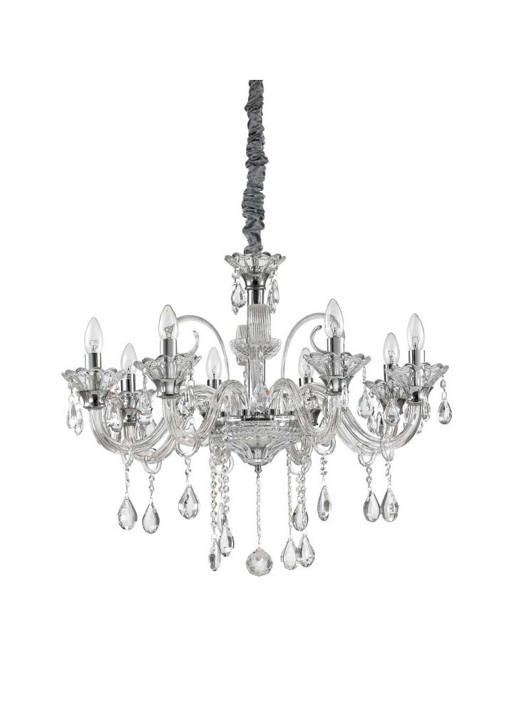 Crystal and glass chandelier 8 lights Colossal transparent