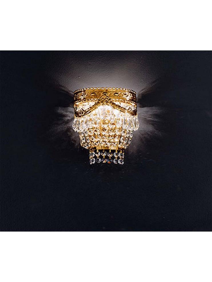 Applique in cristallo 2 luci oro con pendenti Voltolina Pegaso