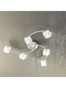 Plafoniera moderna 6 luci vetro cubo tpl 1047-pl6