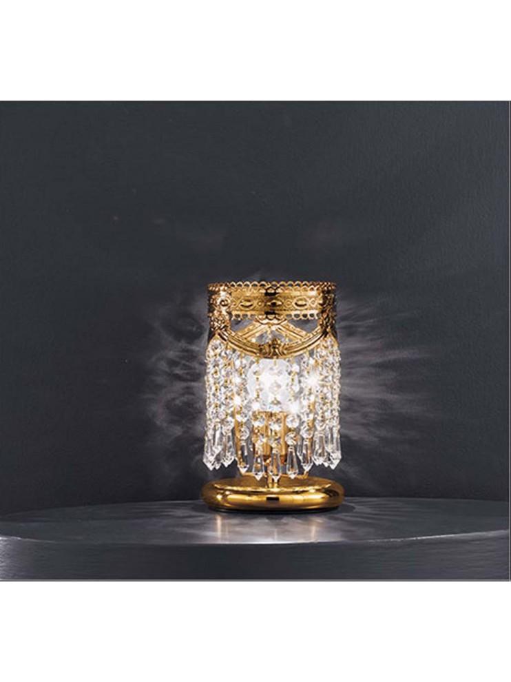 Lumetto in cristallo trasparente a 1 luce oro Voltolina Pegaso
