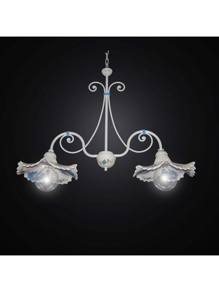 Barbell in ceramic and wrought iron 2 lights BGA 2537 / B2-02