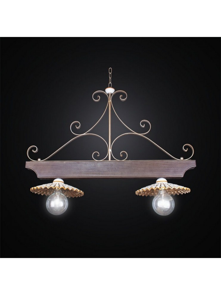 Barbell in ceramic and wrought iron 2 lights BGA 2508 / B2
