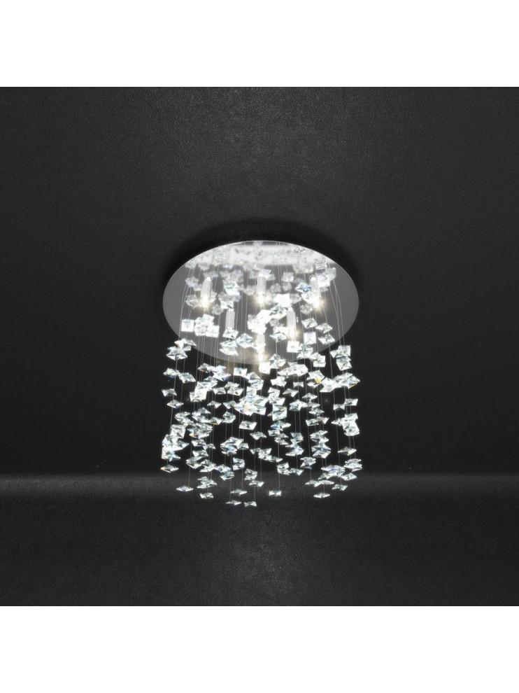 Plafoniera moderna 6 luci con cristalli tpl 1110/pl6