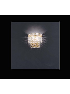 Classic crystal sconce 2 lights gold Voltolina Beethoven