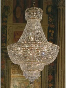 Lampadario in cristallo classico 15 luci oro Voltolina Beethoven Impero