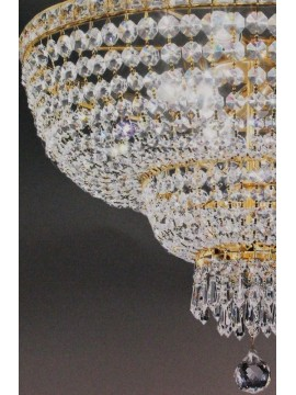 Chandelier in classic crystal 8 lights gold Voltolina Beethoven