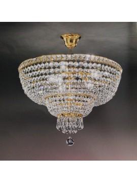 Plafoniera in cristallo classica 8 luci oro Voltolina Beethoven