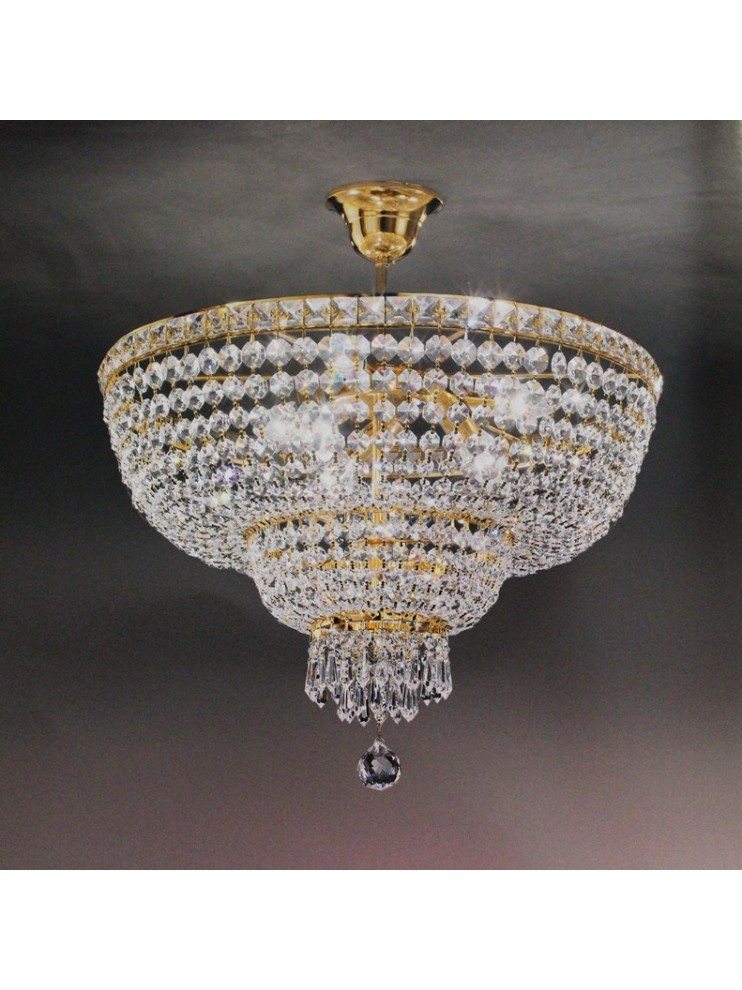 Ceiling lamp in classic crystal 8 lights gold Voltolina Beethoven