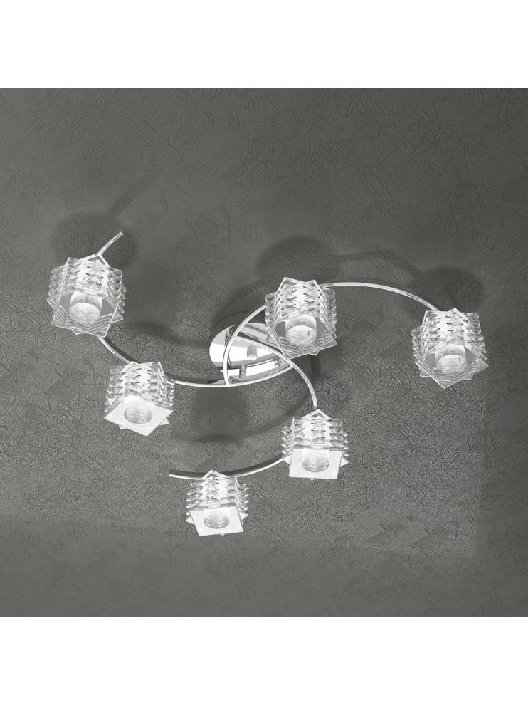 Plafoniera moderna 6 luci cristallo tpl 1126-pl6