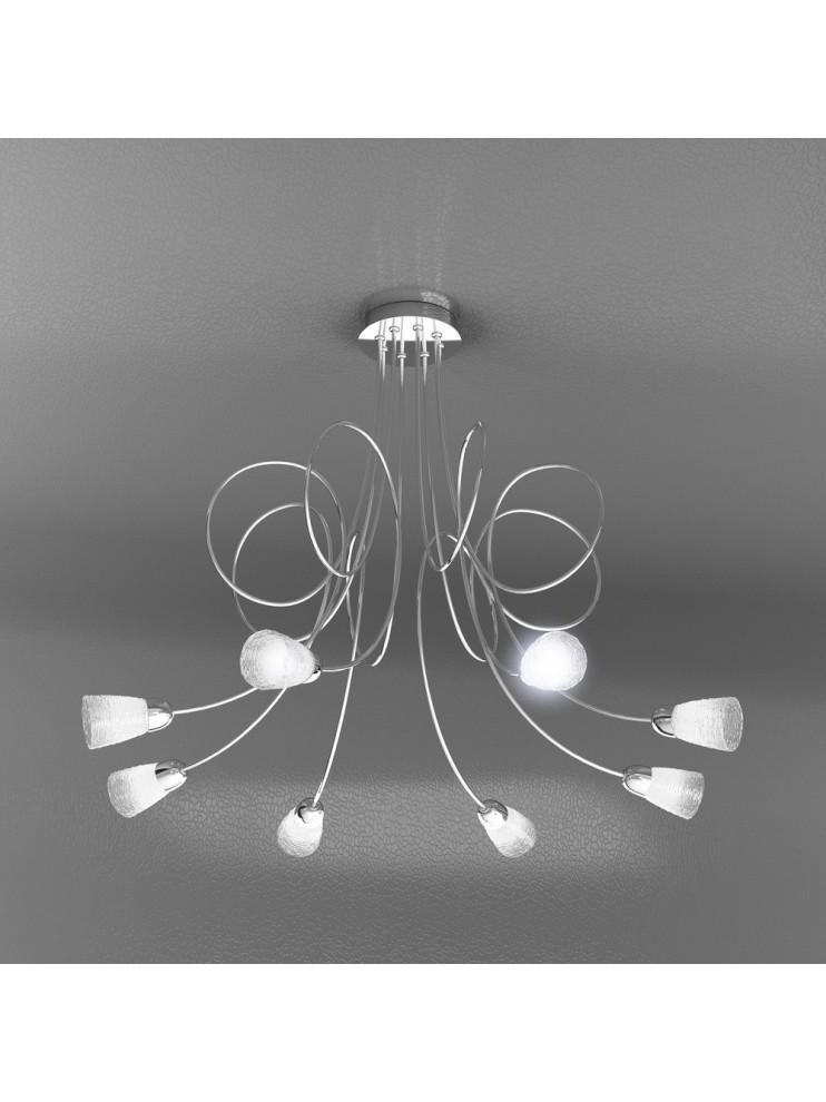 Lampadario moderno 8 luci con vetri tpl 1011-pl8ht