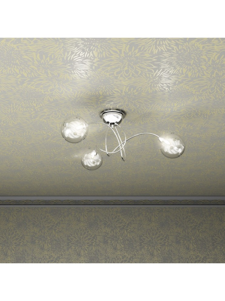 Plafoniera moderna 3 luci con vetro tpl 1109-pl3