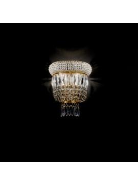 Classic crystal sconce 2 lights gold Voltolina Osaka