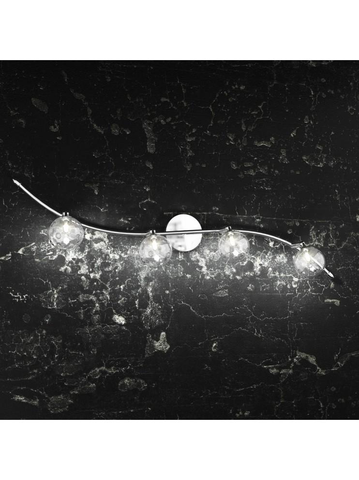Plafoniera moderna 4 luci con vetro tpl 1109/f4