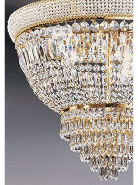 Chandelier in classic crystal 6 lights gold Voltolina Osaka