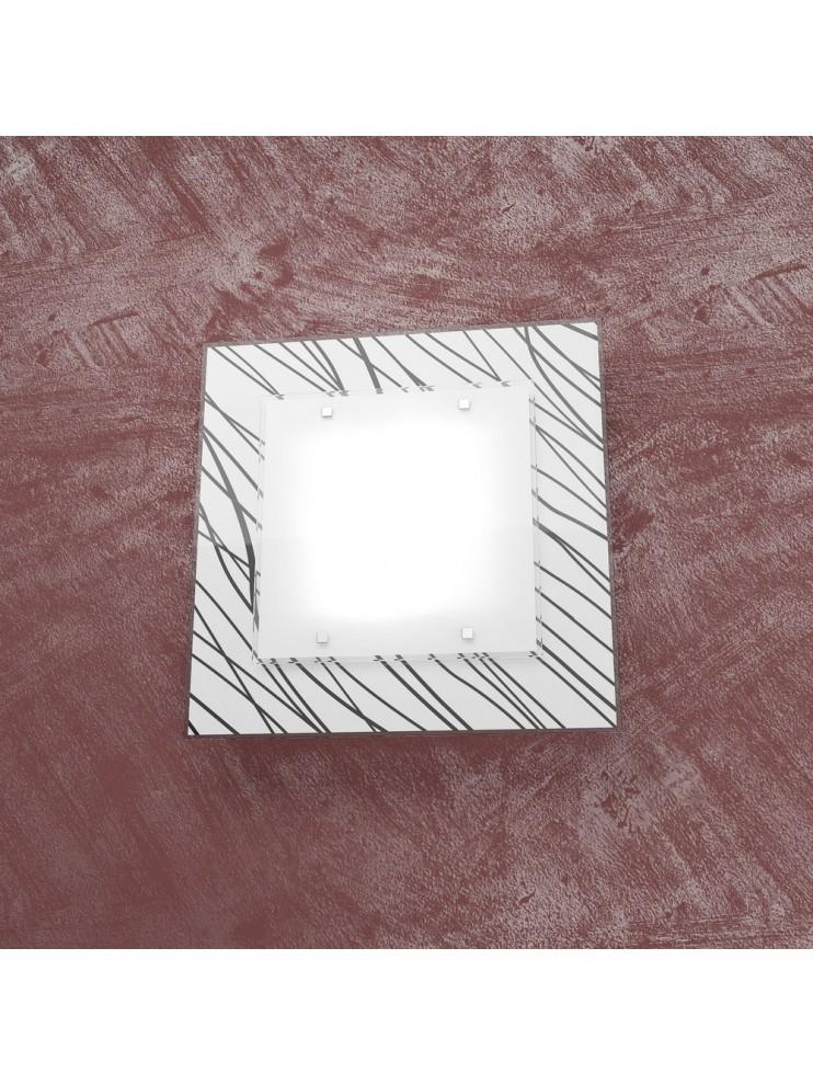 Plafoniera moderna 2 luci design con vetro tpl 1124-45