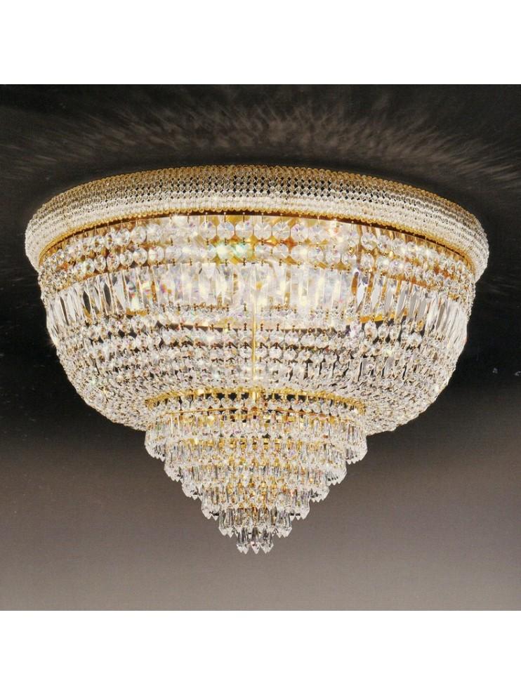 Plafoniera in cristallo classica 8 luci oro Voltolina Osaka