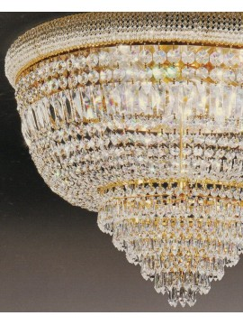 Ceiling lamp in classic crystal 8 lights gold Voltolina Osaka