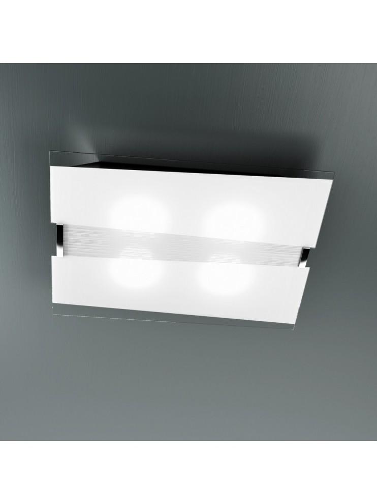 Plafoniera moderna 4 luci vetro bianco tpl 1074-pl7
