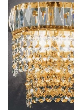 Classic crystal sconce 2 lights gold Voltolina Rome