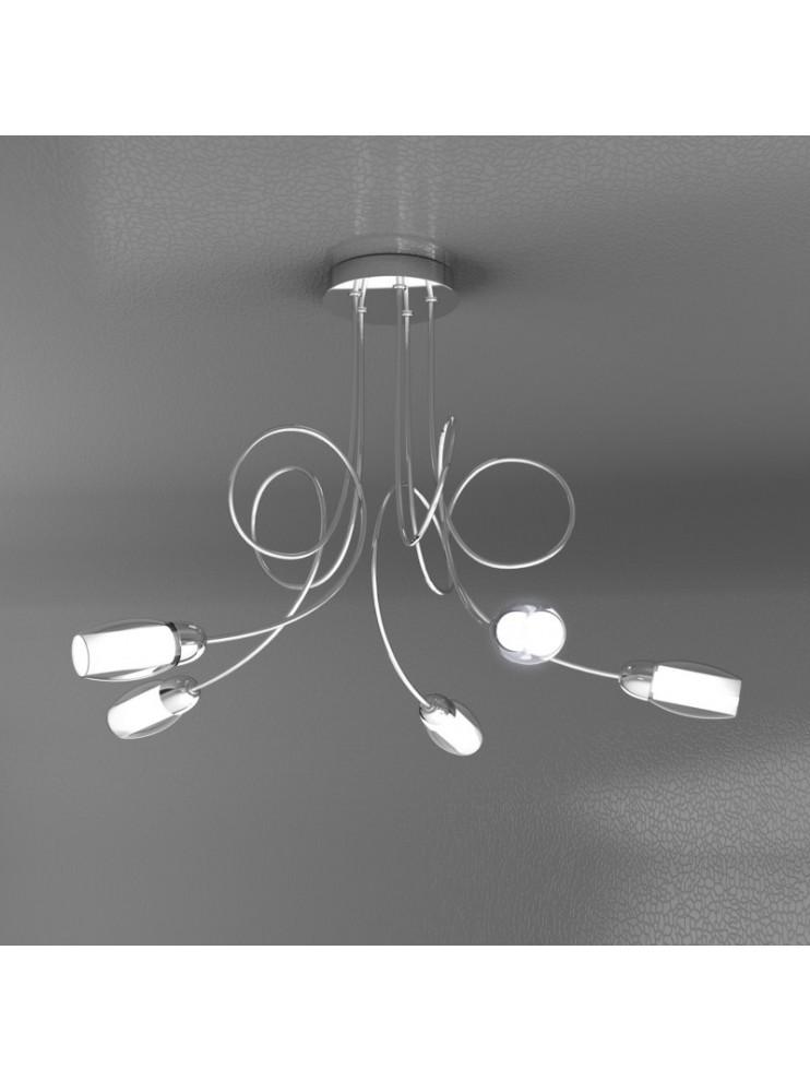 Modern chandelier 5 lights with tpl glasses 1011-pl5-a