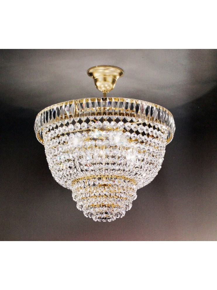 Chandelier in classic crystal 3 lights gold Voltolina Rome