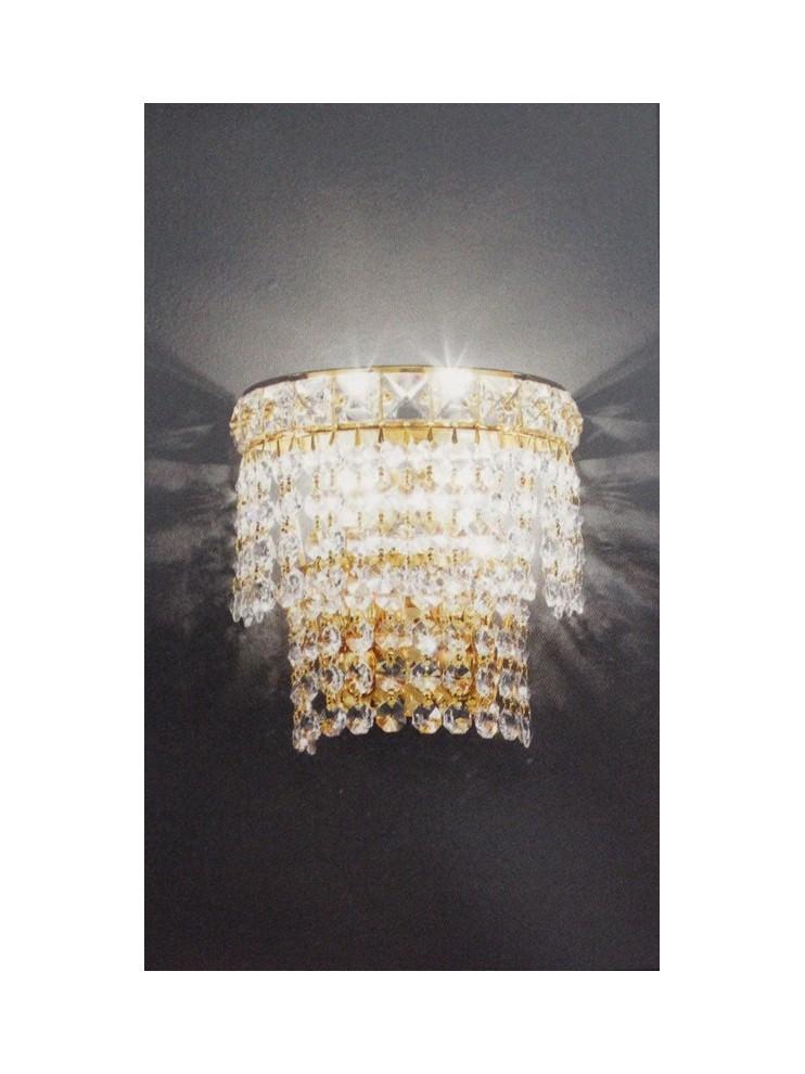 Classic crystal sconce 2 lights gold Voltolina Settat