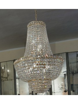Chandelier in 7-light gold classic crystal Voltolina Settat Impero