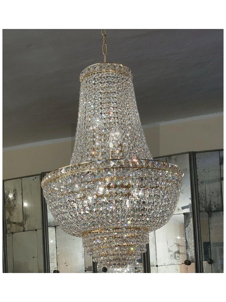 Lampadario in cristallo classico a 7 luci oro Voltolina Settat Impero