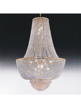 Chandelier in classic 9-light gold crystal Voltolina Settat Impero