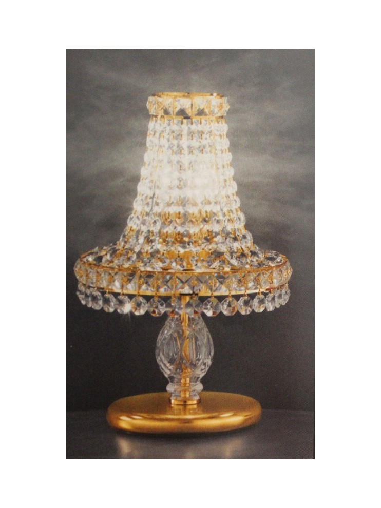 Table lamp in transparent crystal with 2 gold lights Voltolina Settat