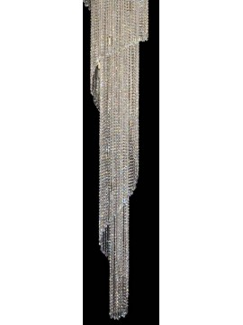 Plafoniera in cristallo contemporanea 12 luci nickel Voltolina Twister
