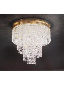 Ceiling lamp in classic 5 lights gold Voltolina Twister crystal