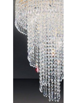 Ceiling lamp in classic 7-light gold Voltolina Twister crystal