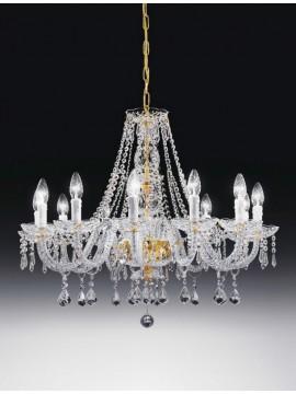 Lampadario in cristallo classico 12 luci oro Voltolina Valencia