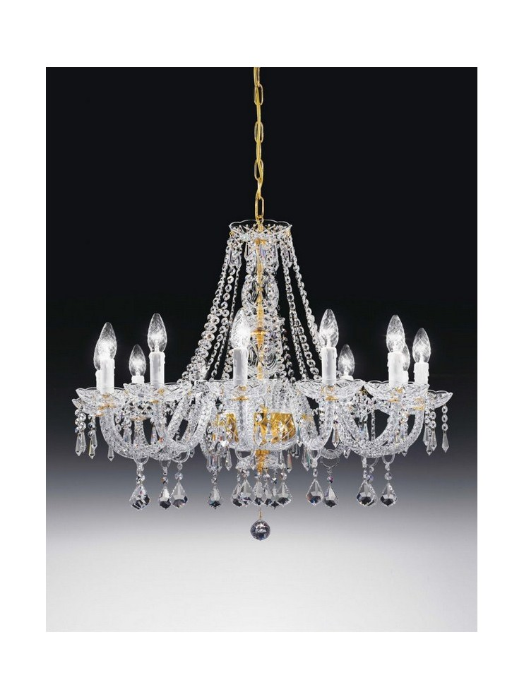Classic crystal chandelier 12 lights gold Voltolina Valencia
