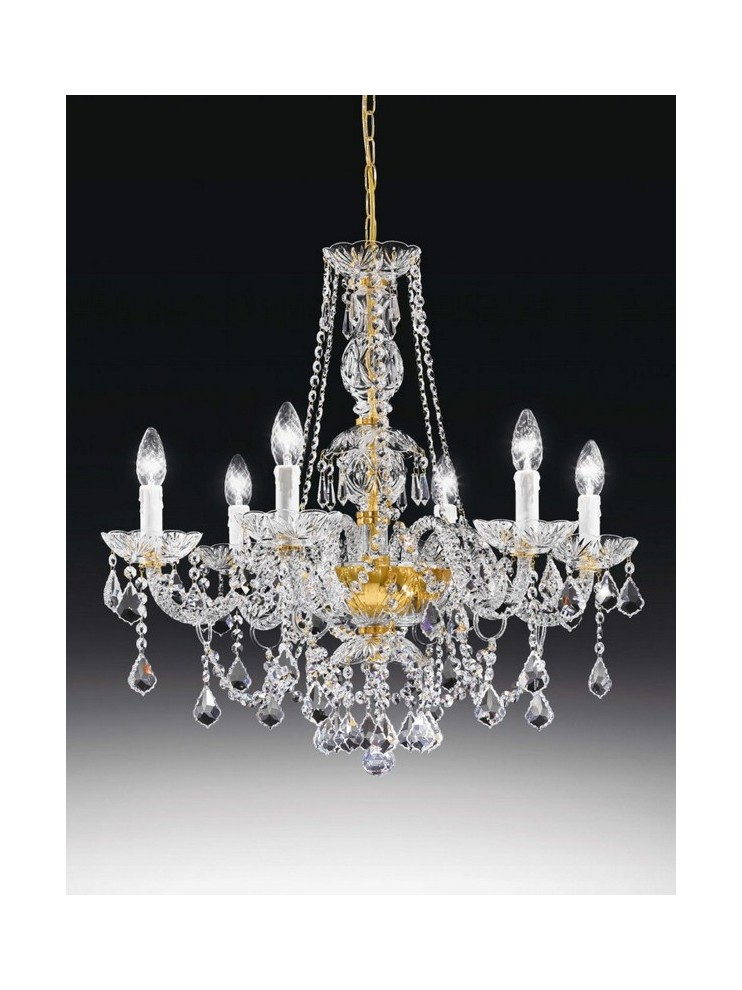 Classic crystal chandelier 6 lights gold Voltolina Valencia