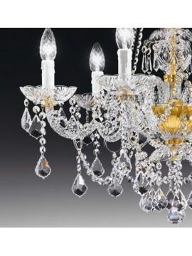Lampadario in cristallo classico 6 luci oro Voltolina Valencia