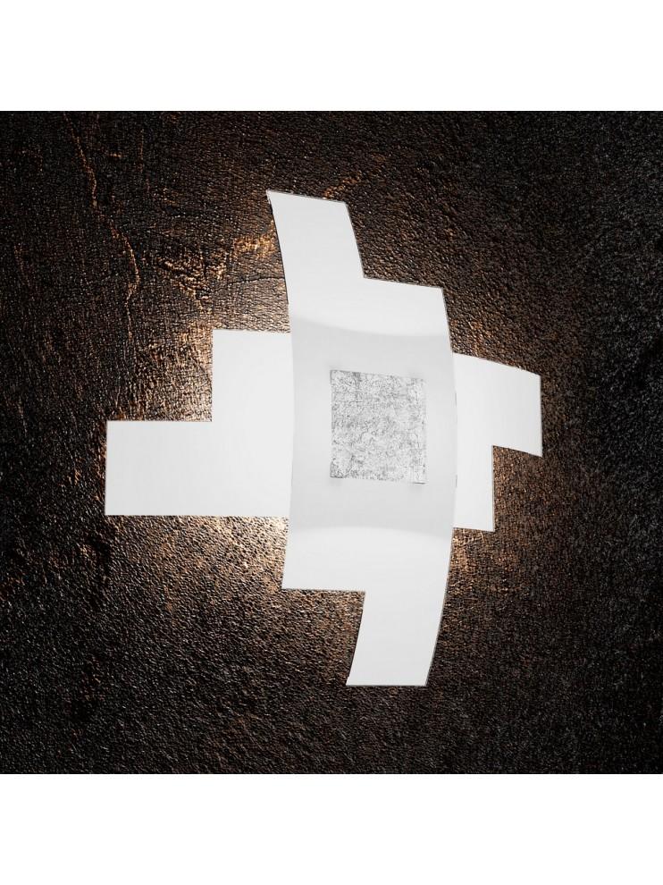 Plafoniera moderna foglia argento 4 luci tpl 1121/55-fa